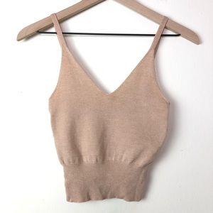 Reformation Crop Knit V Neck Beige Pink Top